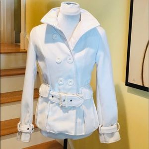 Rue 21 White Double Breasted Pea Coat Belted